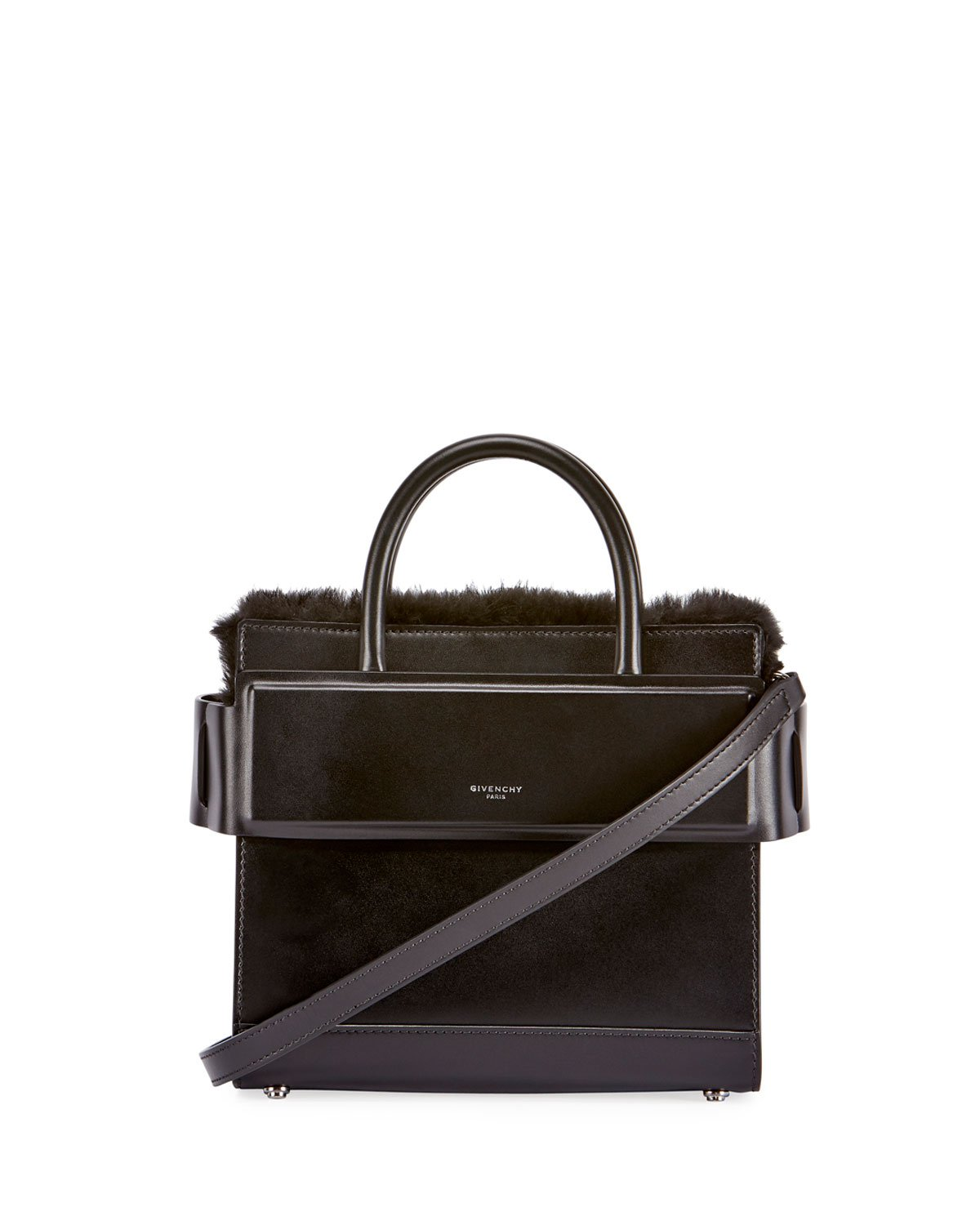 Givenchy Horizon Mini Fur-Trimmed Tote Bag, Black