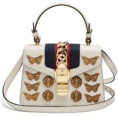 Sylvie Mini Embellished Leather Shoulder Bag - Womens - White Gold