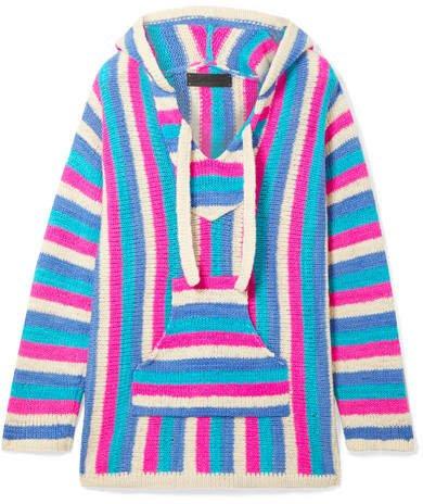 Baja Striped Cashmere Hoodie - Blue