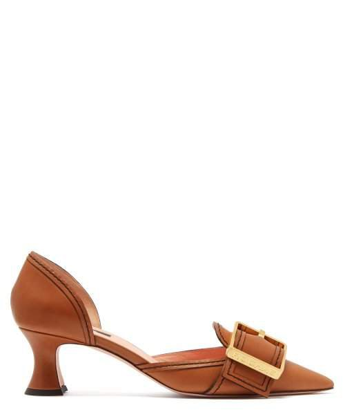 Buckled Leather D'orsay Pumps - Womens - Tan