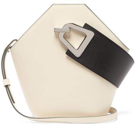 Johnny Leather Bucket Bag - Womens - White Black