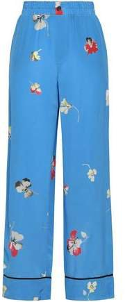 Joycedale Floral-print Washed-silk Wide-leg Pants
