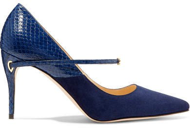 Jennifer Chamandi - Lorenzo Suede And Elaphe Pumps - Navy