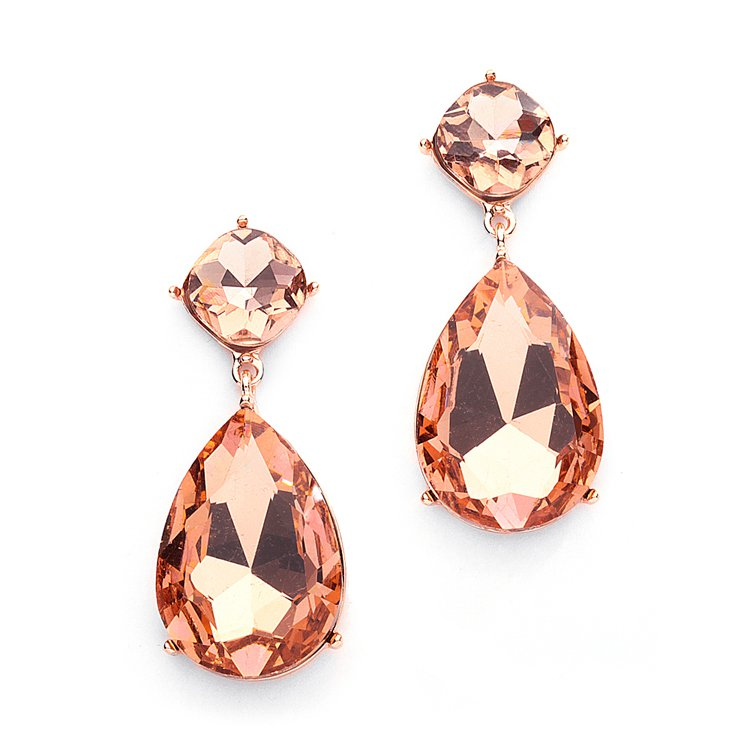 Champagne-Pink Crystal Droplet Earrings