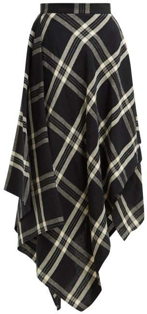 Tartan Handkerchief Hem Linen Midi Skirt - Womens - Black Multi