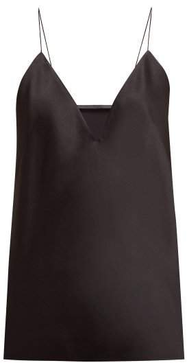 Slender Strap Crepe Satin Camisole - Womens - Black