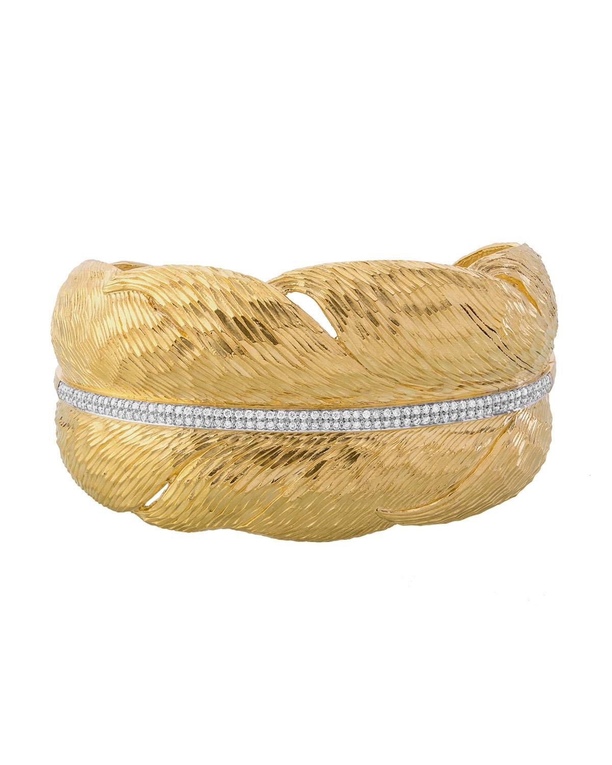 Michael Aram 18k Gold Diamond Feather Cuff Bracelet