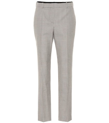 Mid-rise straight wool pants