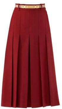 Women's Long Skirt with Logo Belt - Brick Red - Size 38 (2)