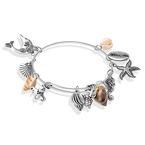 Amazon.com: Meice womens Sea Shell Charm Expandable Wire Bangle sea animal Bracelet (sea animal): Clothing