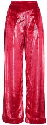 Metallic Velvet Wide-leg Pants