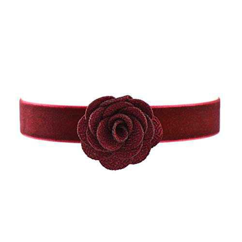 Amazon.com: Paialco Wine Red Velvet Belt Gothic Choker Necklace 12-15 Inches, Maroon Rose Flower Shape: Clothing
