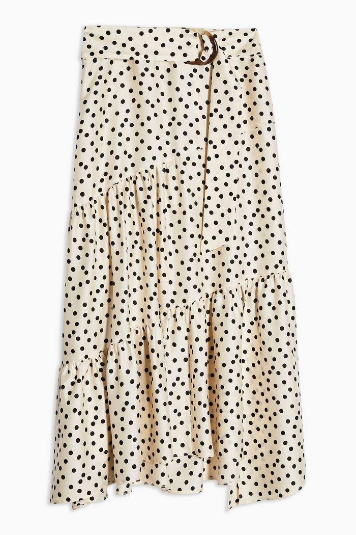 Cream Spot Tiered Midi Skirt | Topshop cream