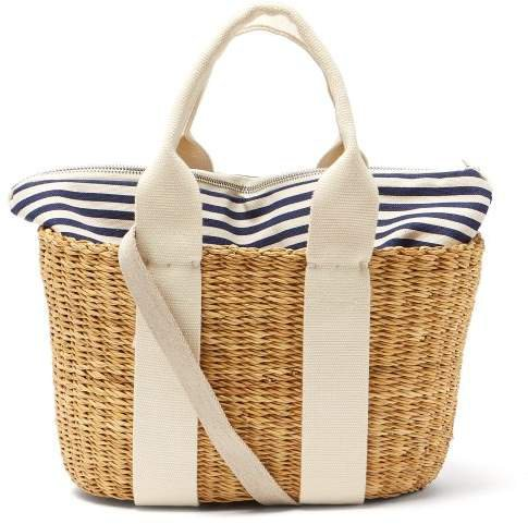 Caba Mini Canvas And Woven Straw Bag - Womens - Navy Multi