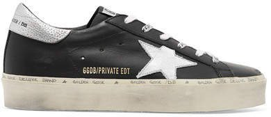 Hi Star Distressed Leather Sneakers - Black