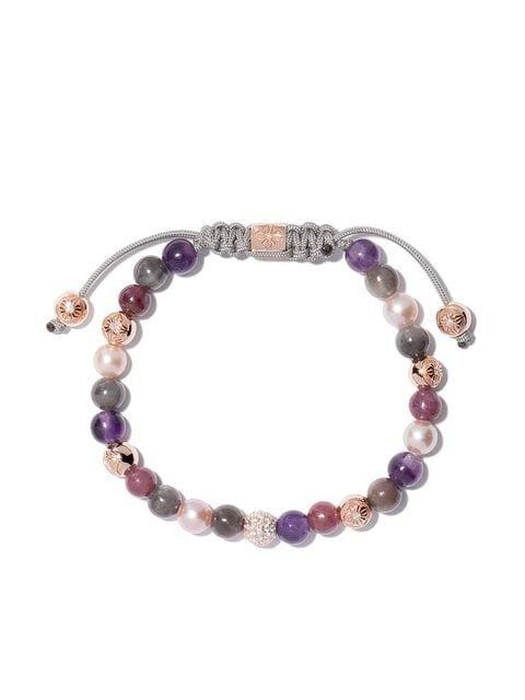 Shamballa Jewels 18kt yellow gold, sapphire & ruby beaded bracelet