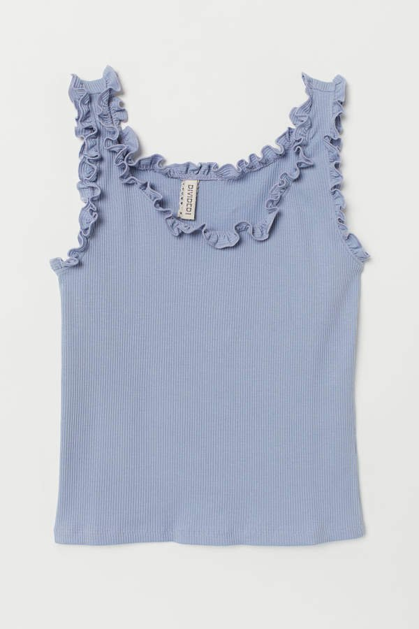 Tank Top with Ruffle Trim - Blue