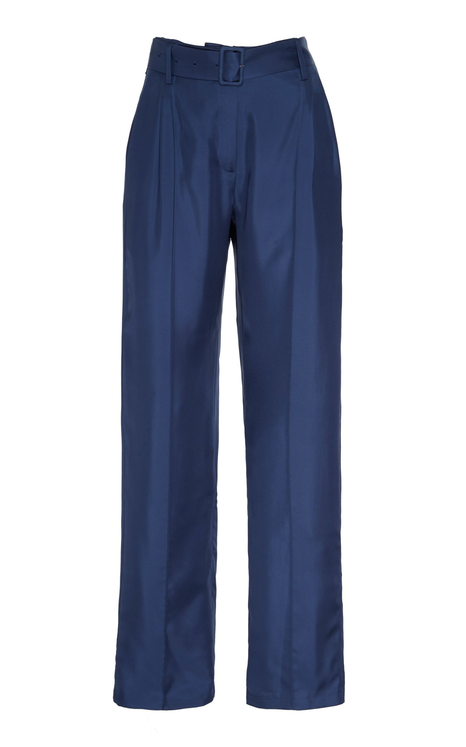 Sally LaPointe Silky Twill Pintuck Belted Pant