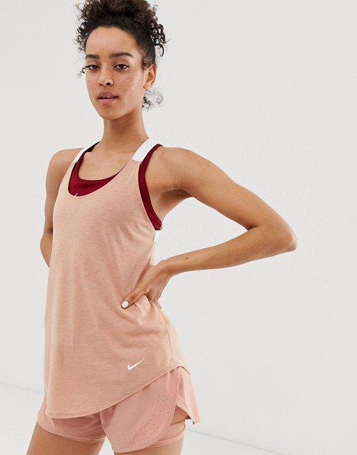 Nike Training elastika tank in rose gold | ASOS