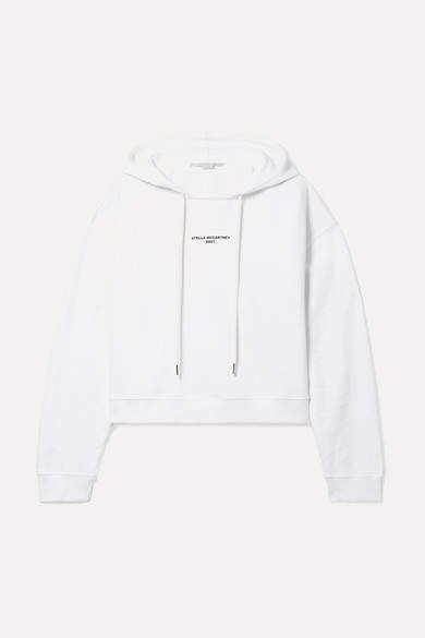 Cropped Printed Organic Cotton-jersey Hoodie - White