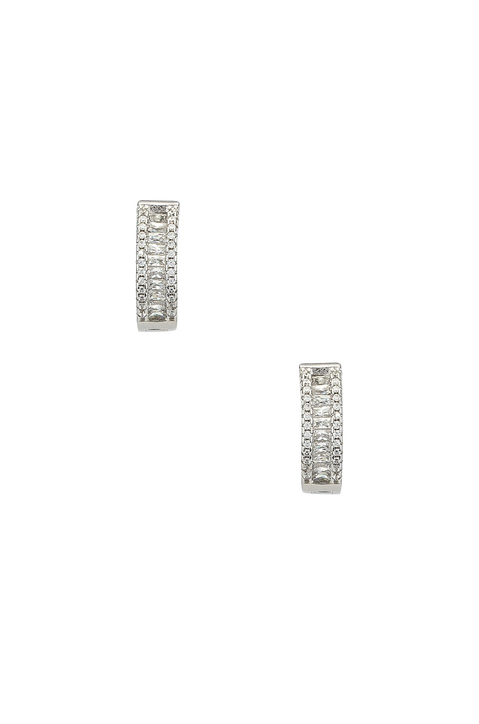 The Baguette Channel Set Huggie Earrings