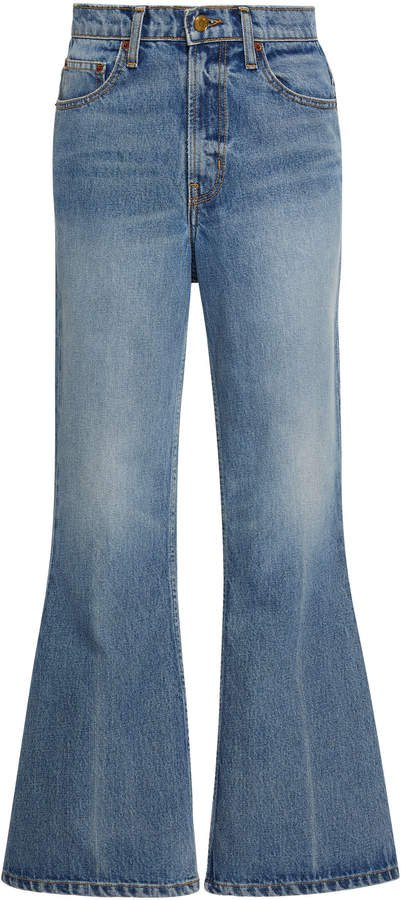 B SIDES Leni Cropped High-Rise Flared Jeans