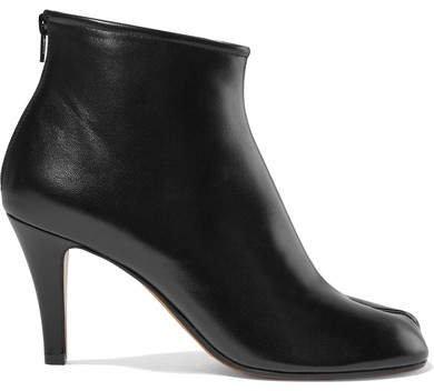Split-toe Leather Ankle Boots - Black