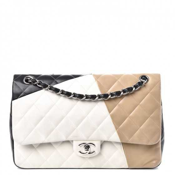 CHANEL Lambskin Quilted Colorblock Jumbo Double Flap Black White Beige 251094
