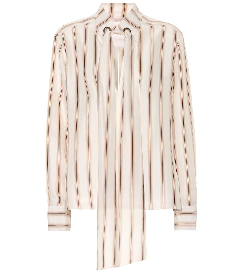 Striped Silk Satin Blouse - Chloé | mytheresa