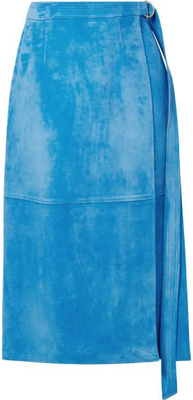 Sally LaPointe - Belted Wrap-effect Suede Midi Skirt - Light blue