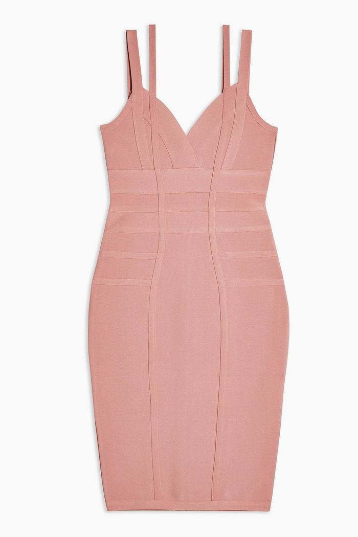 Blush Bodycon Bandage Midi Dress | Topshop pink