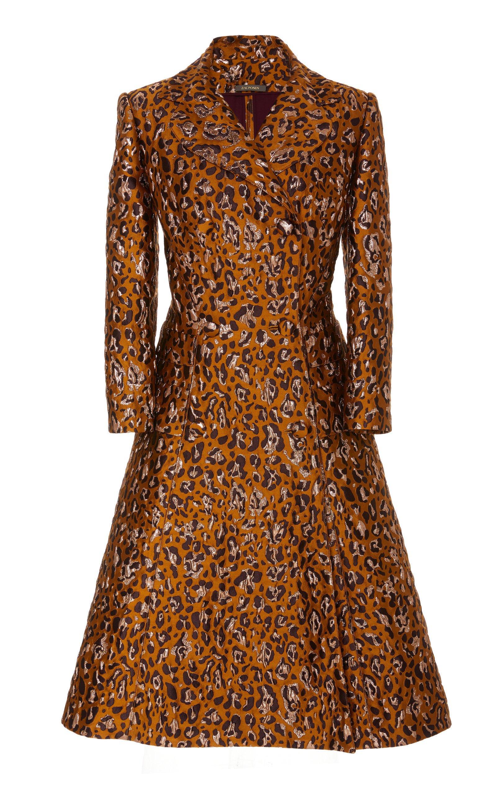 Zac Posen Leopard-Print Jacquard A-Line Coat