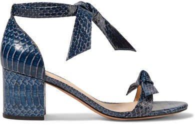 Clarita Bow-embellished Watersnake Sandals - Cobalt blue