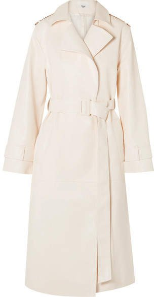 Frankie Shop - Eve Faux Leather Trench Coat - Cream