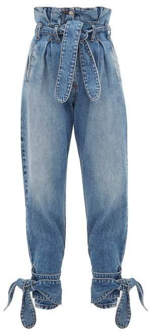 X The Attico Paperbag Waist Tie Cuff Jeans - Womens - Light Denim