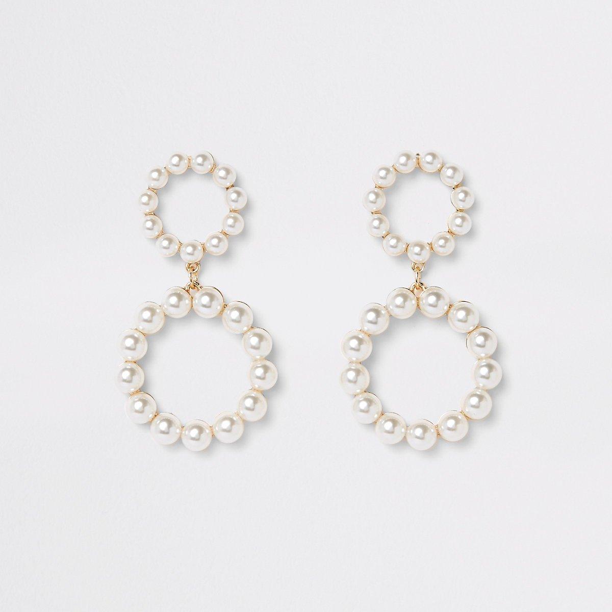 Gold color pearl double ring drop earrings - Earrings - Jewelry - women
