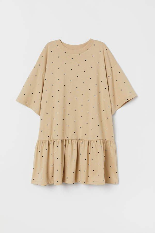 Oversized Flounced Dress - Beige