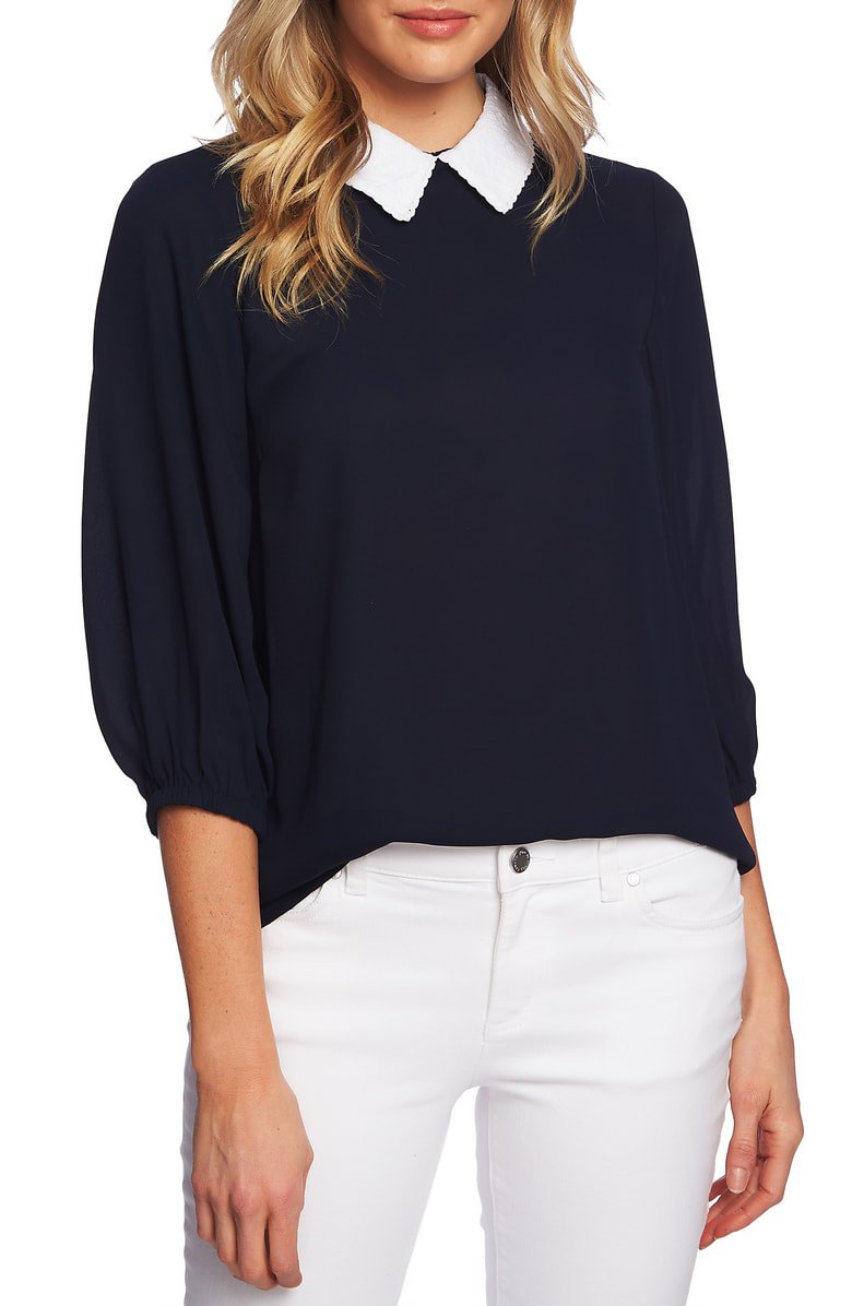 CeCe Embroidered Collar Blouse | Nordstrom