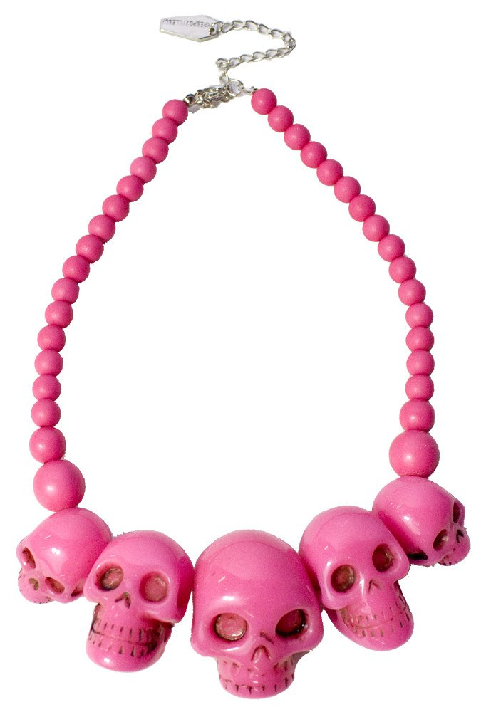 KREEPSVILLE 666 SKULL COLLECTION NECKLACE PINK - Jewelry - Accessories - Sourpuss Clothing