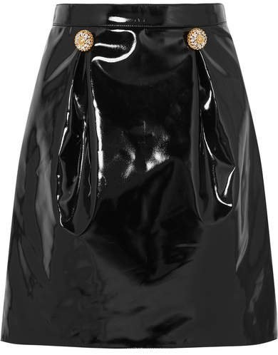 Embellished Pvc Mini Skirt - Black