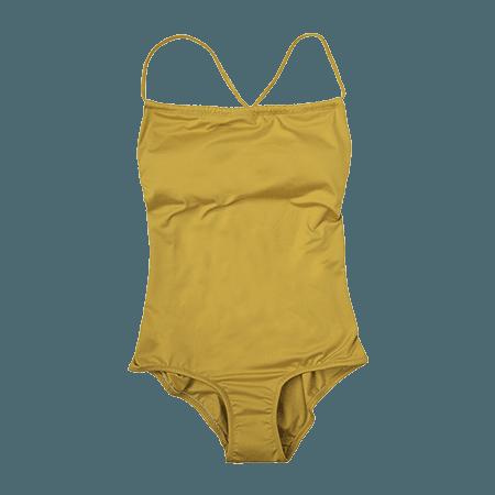 Self-Tie Crossed Strap Swimsuit