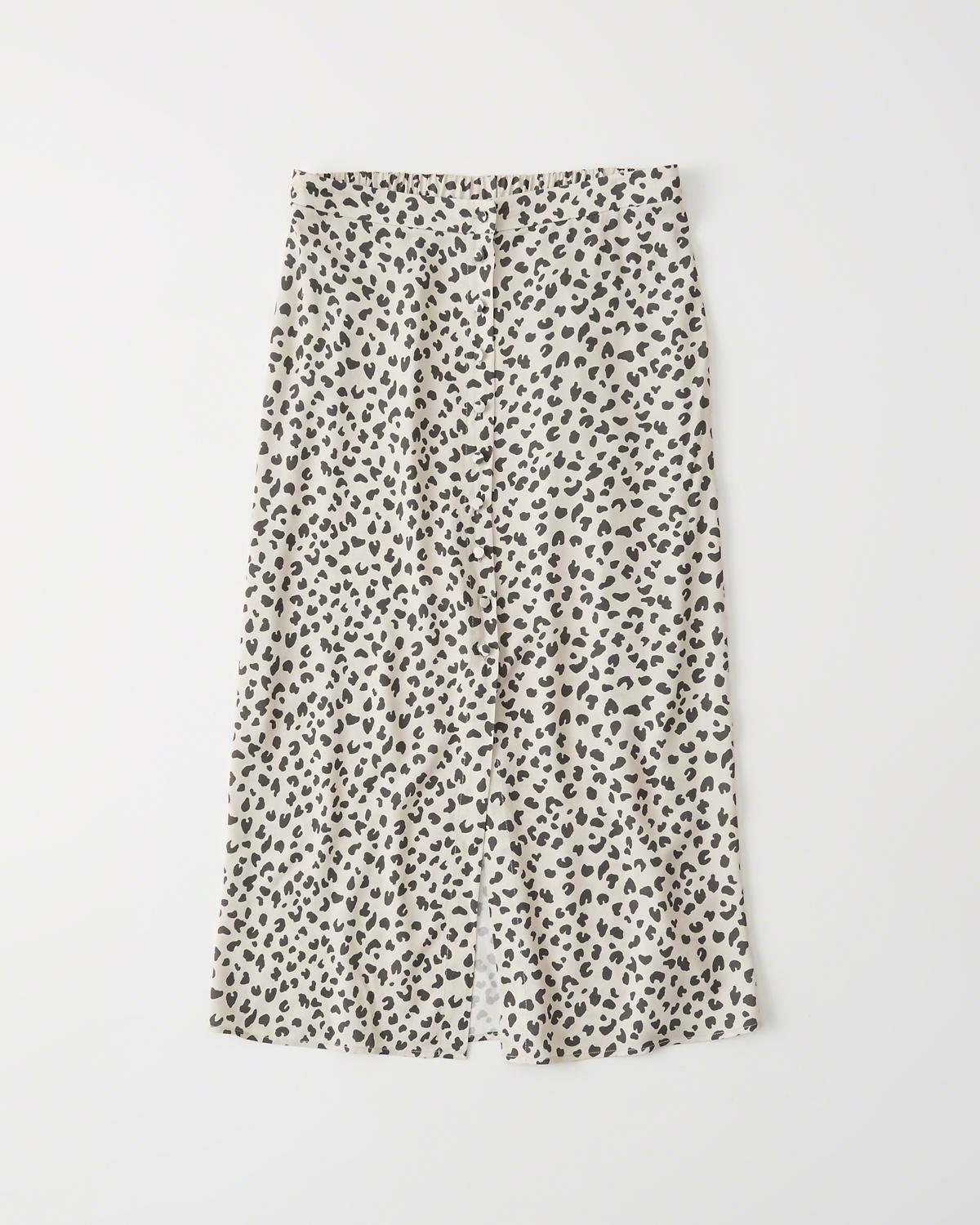 BUTTON-FRONT LEOPARD MIDI SKIRT