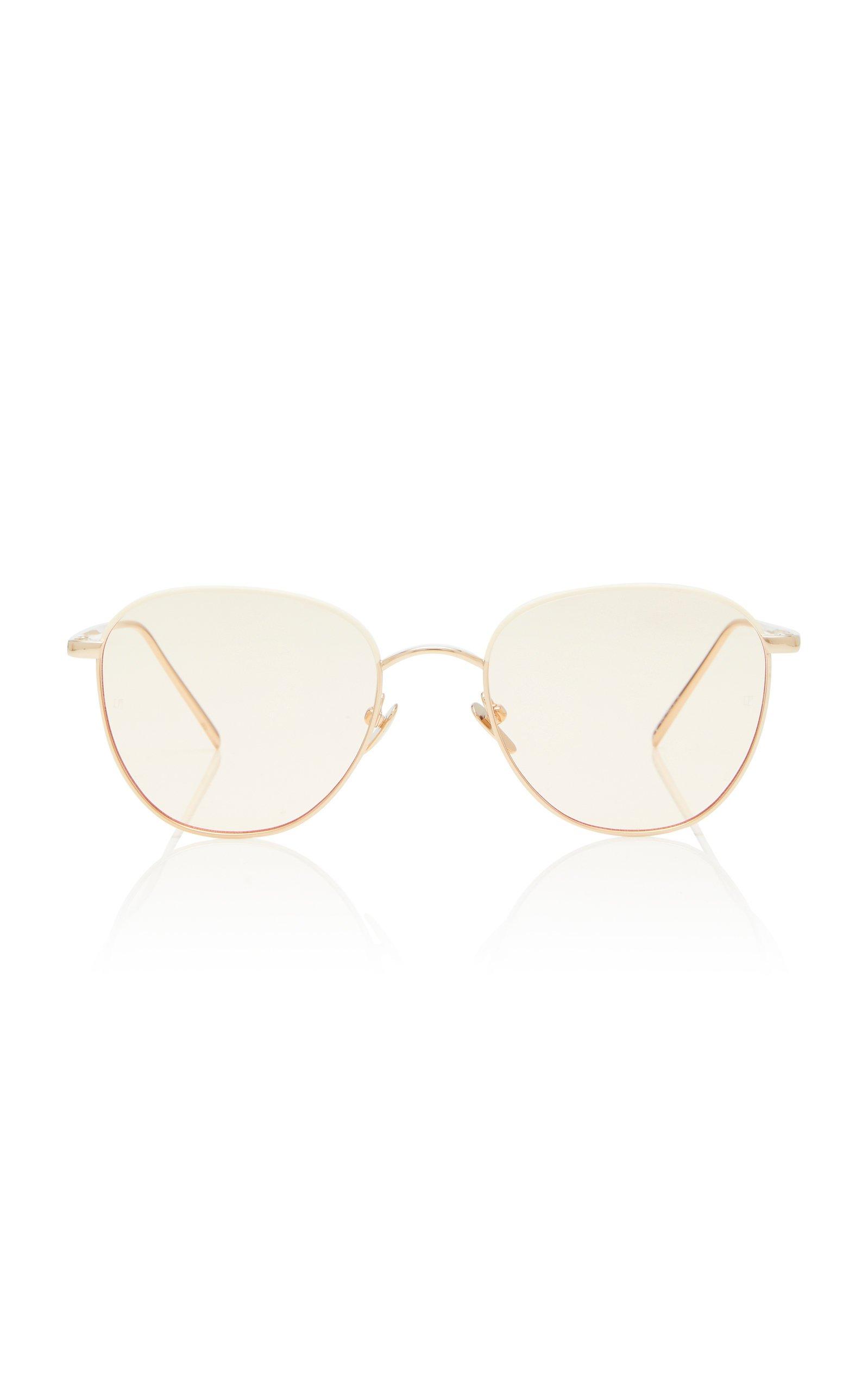 Linda Farrow Gold-Tone Metal Aviator Sunglasses