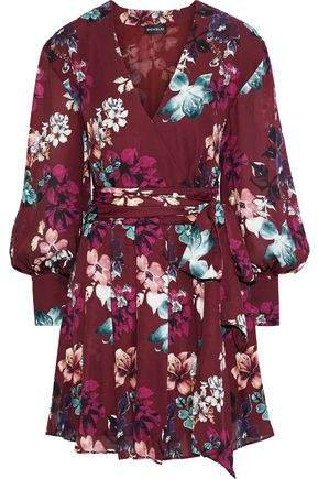 Wrap-effect Floral-print Silk-georgette Mini Dress