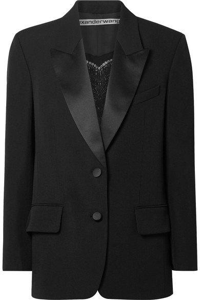 Alexander Wang | Embellished silk satin-trimmed wool blazer | NET-A-PORTER.COM