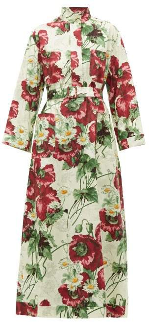 Poppy Print Cotton Poplin Midi Dress - Womens - Ivory Multi
