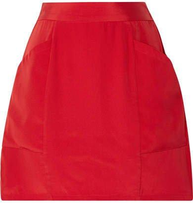 Silk-crepe Mini Skirt - Red