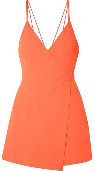 Alice Olivia - Emery Draped Crepe Playsuit - Orange