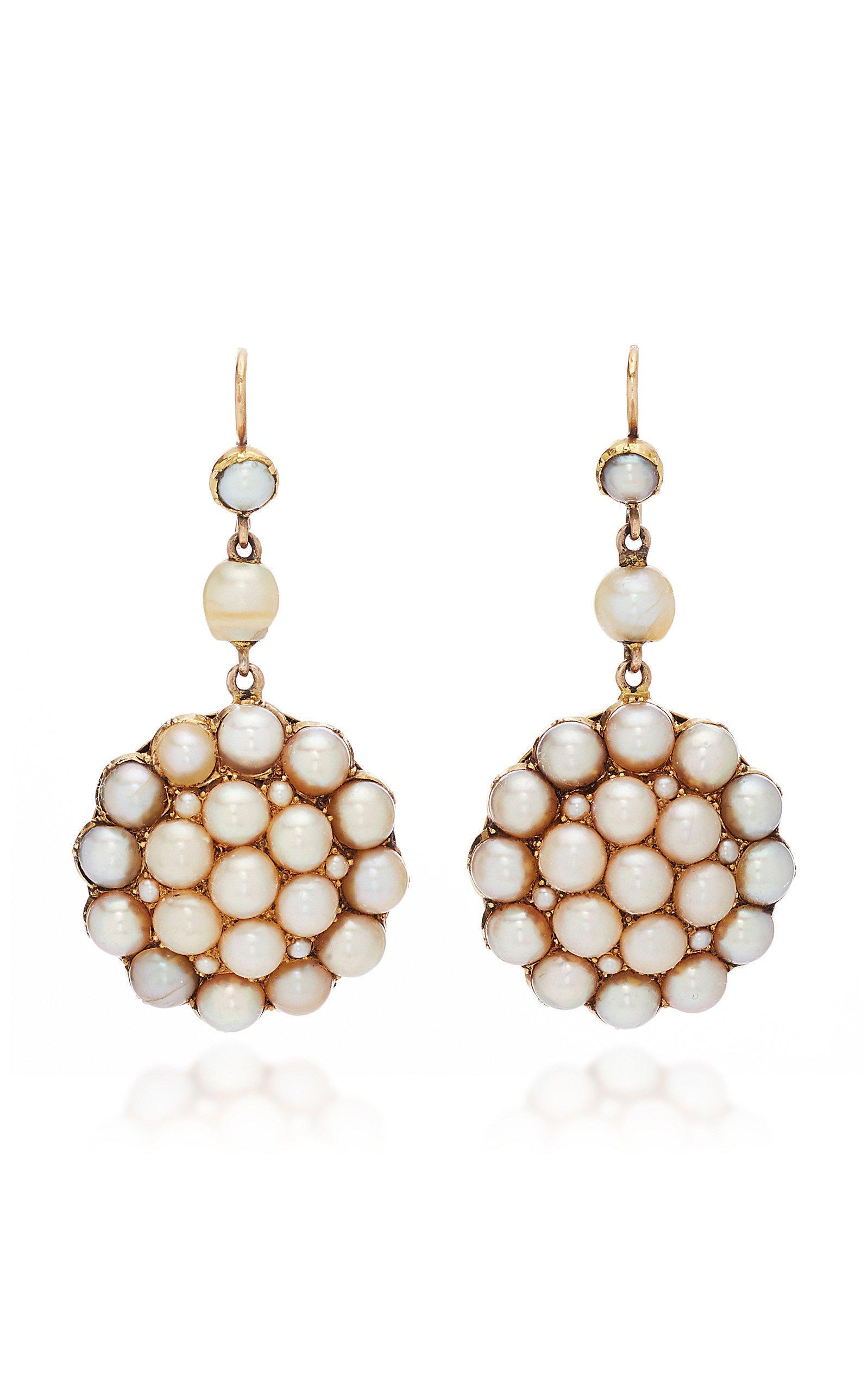 Simon Teakle Pearl Cluster Drop Earrings