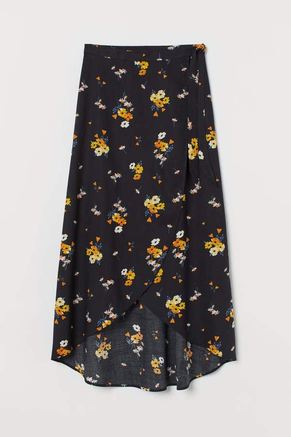 Wrapover Viscose Skirt - Black